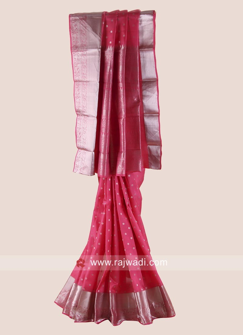 Pure Silk Woven Saree in Light Pink
