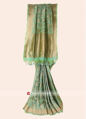 Pure Silk Woven Saree in Pista Green