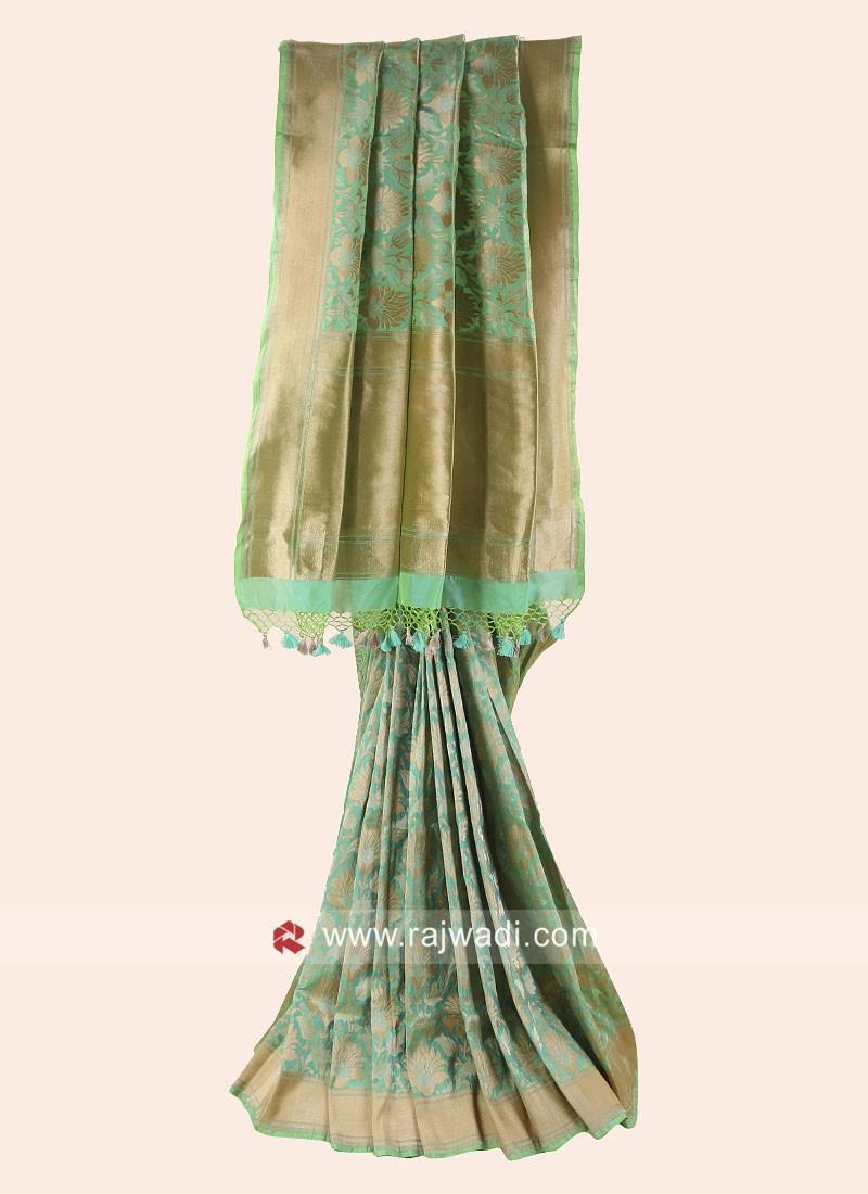 Pure Silk Woven Saree in Pista Green
