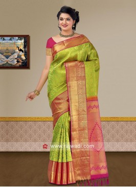 Pure Silk Woven Saree with Raw Silk Blouse