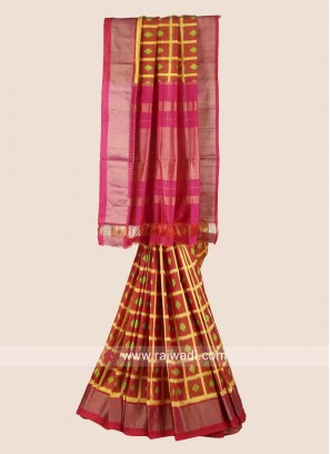 Pure Silk Zari Weaved Checks Saree