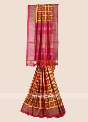 Pure Silk Zari Weaved Checks Saree