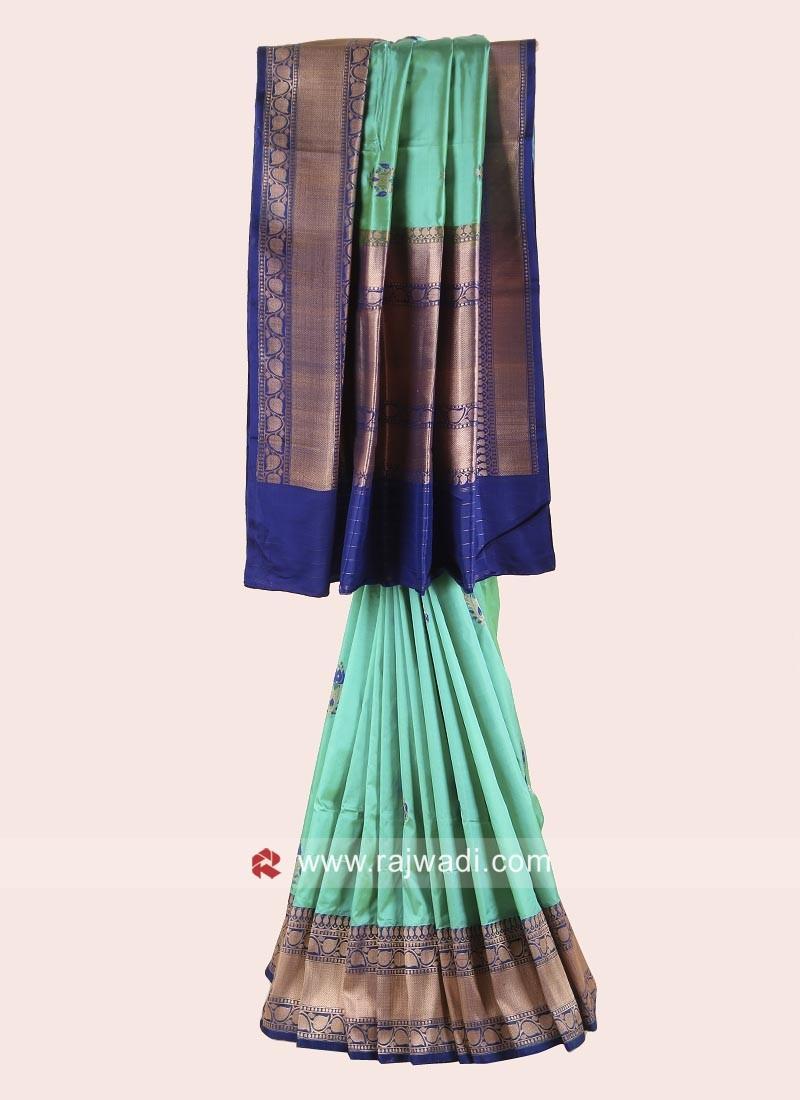 Pure Silk Zari Woven Saree with Border