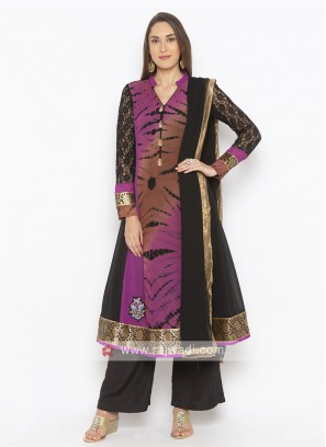 Purple And black Colour Salwar Suit