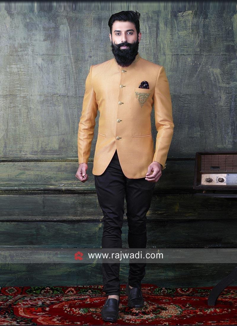 Attractive Orange Jodhpuri Suit