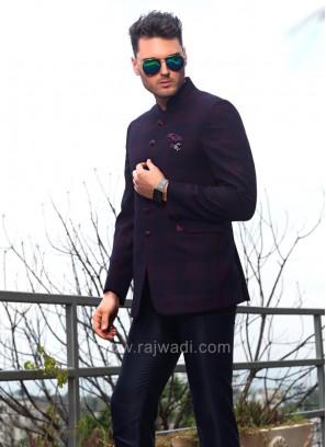 Purple and Black Shaded Jodhpuri Suit