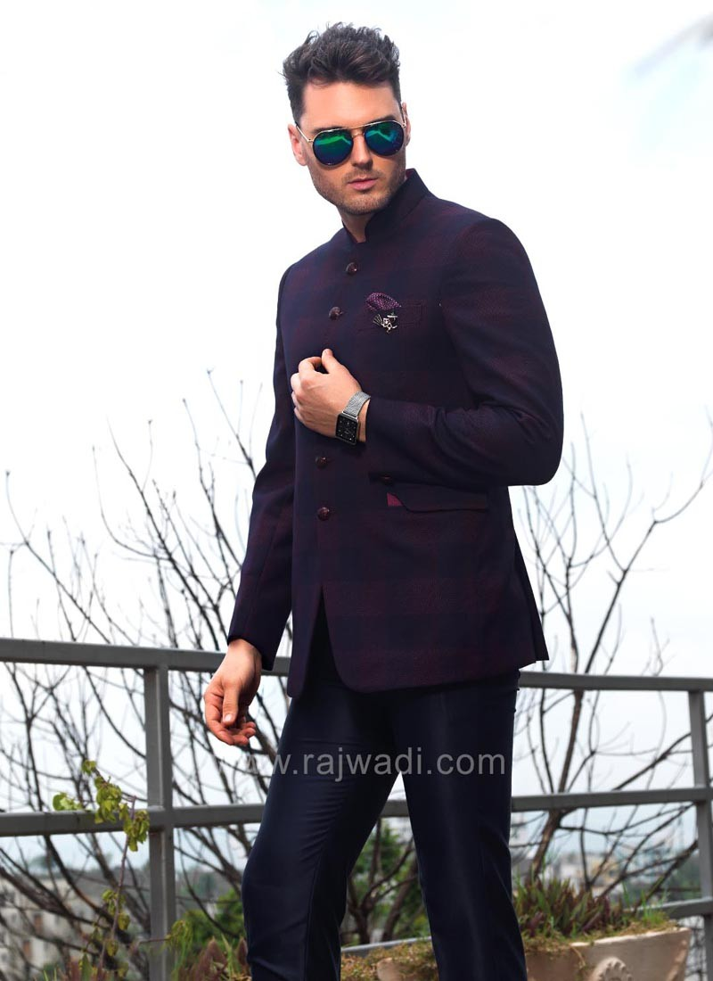 Purple and Black Shaded Jodhpuri Suit