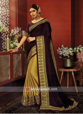 Purple and Golden Half n Half Saree