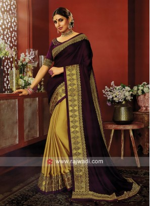 Purple and Golden Half n Half Saree