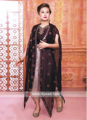 Purple and rosy brown dhoti suit.