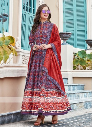 Purple and Red anarkali Suit With Dupatta