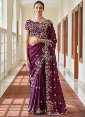 Purple Ceremonial Designer Traditional Saree