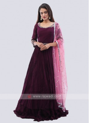 Purple chiffon anarkali suit.