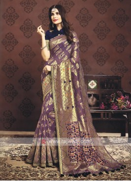 Purple Color Banarasi Silk Saree