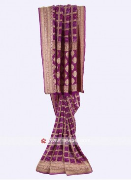 Purple color chiffon saree