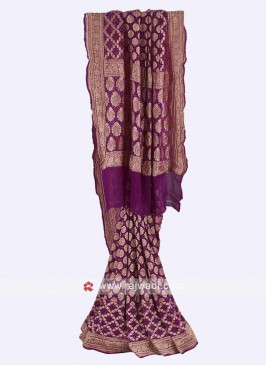 Purple color chiffon saree with blouse