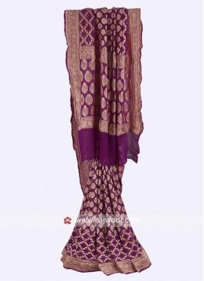 Purple color chiffon saree with blouse