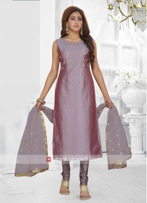 purple color churidar suit