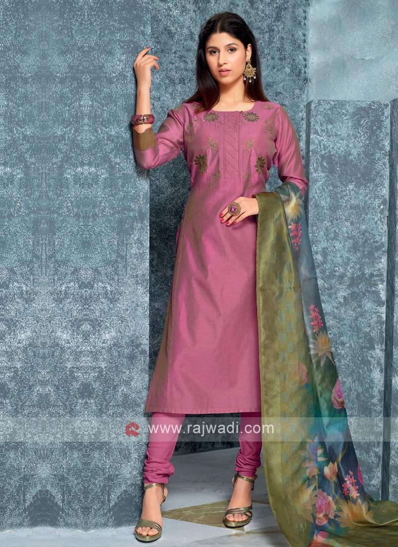 Purple Color Kurta with Churidar & Dupatta