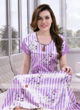 Purple Color Satin Nighty