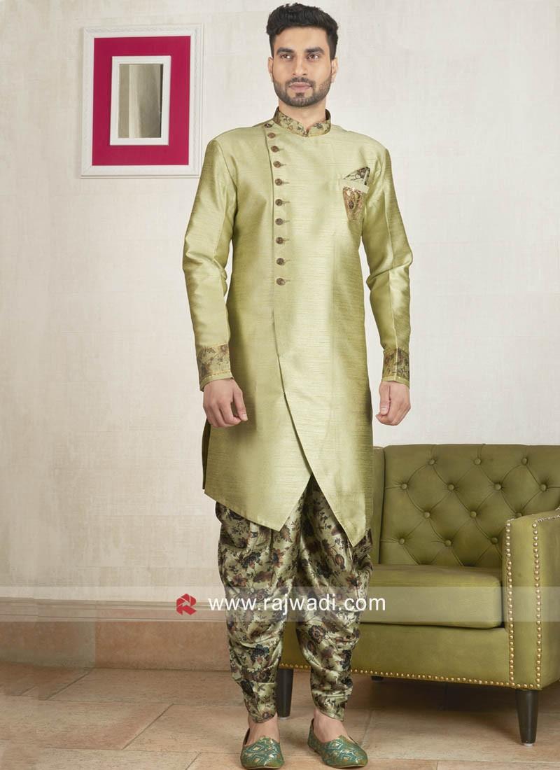Light Pista Art Silk Fabric Patiala Suit