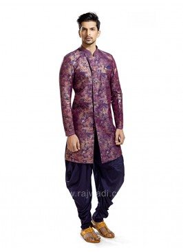 Purple Colored Silk Fabric Patiala Suit