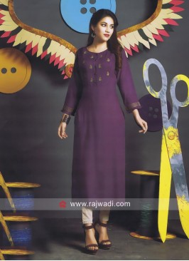 Purple Cotton Straight Fit Kurti