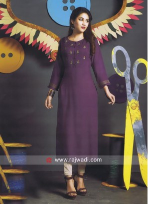 Purple Cotton Straight Fit Kurti
