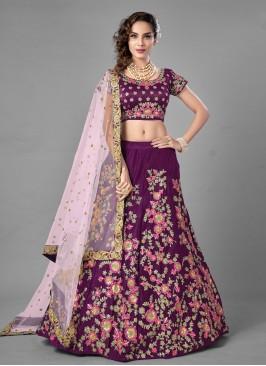 Purple Embroidered Lehenga Choli