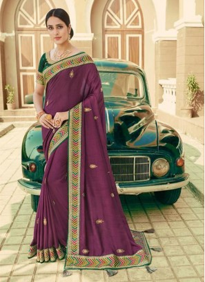 Purple Embroidered Traditional Saree