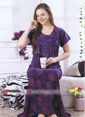 Purple Floral Print Nighty