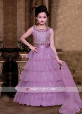 Purple Multi Layer Choli Suit For Girls