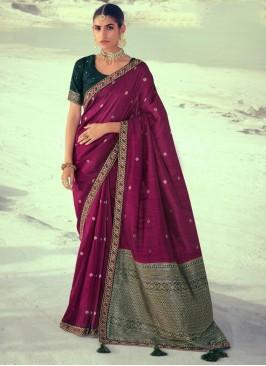 Purple Party Silk Traditional Saree
