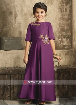 Purple Patch Work Gown for Girls