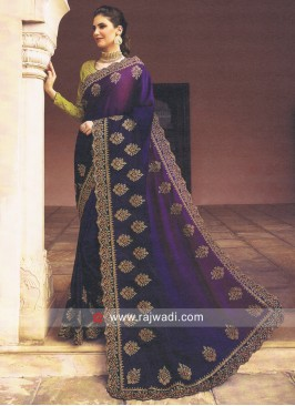 Purple Patch Work Saree with Contrast Blouse