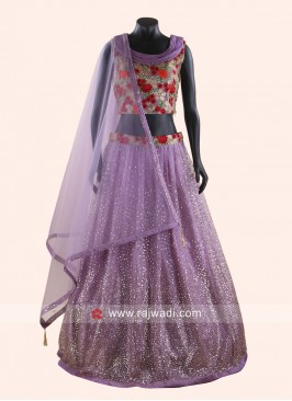 Purple Resham and Zari Work Choli Suit