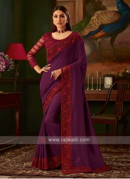 Purple saree with magenta blouse