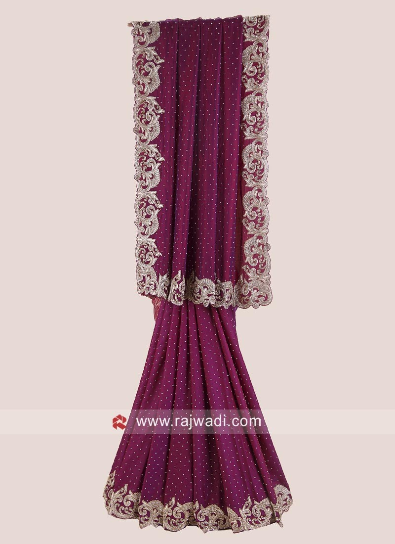 Purple Satin Silk Saree with Border