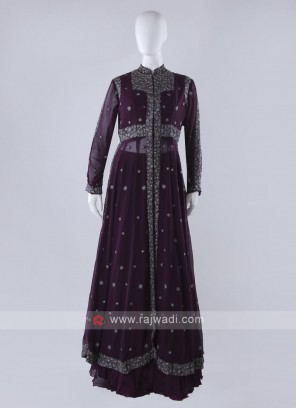 Purple Shrug Style Lehenga Choli