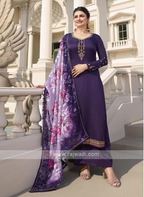 Purple Silk Palazzo Suits