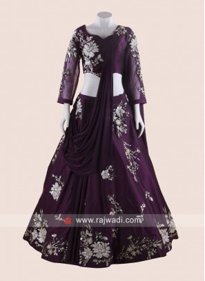 Purple Lehenga Choli with Attached Dupatta