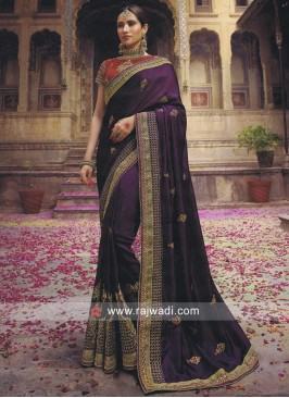 Purple Stone Work Saree