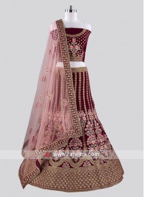 Purple Velvet Fabric Lehenga Choli