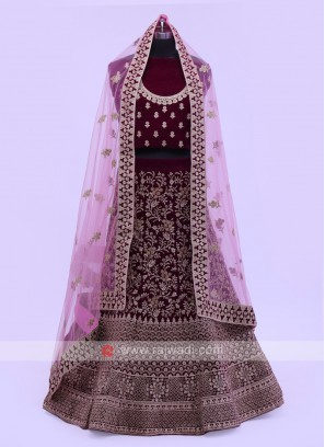 Purple Velvet Lehenga Choli