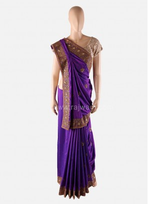 Purple Wedding Saree with Designer Border