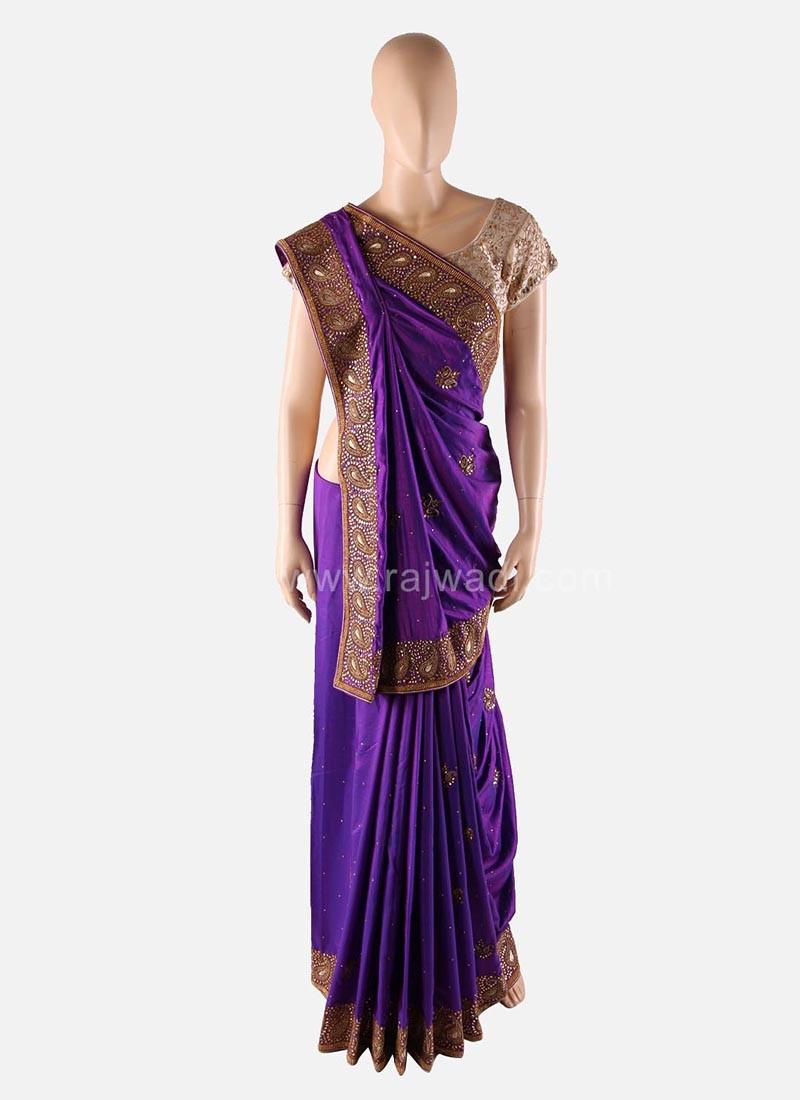 Purple Wedding Saree with Designer Border