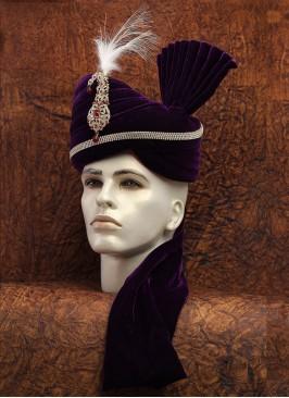 Purple Wedding Wear Velvet Safa