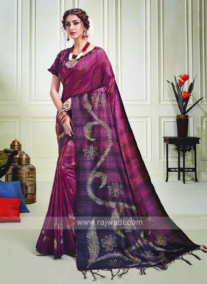 Purple Wine Shaded Silk Saree