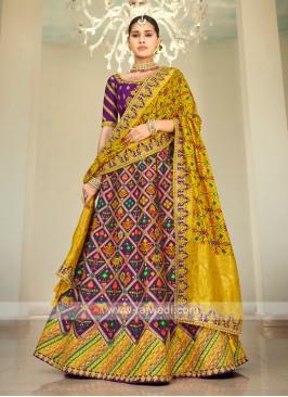 Purple & Yellow Silk Lehenga Choli