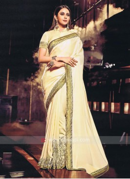 Rakul Preet Singh Art Silk Golden Cream Sari